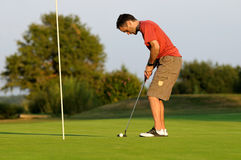 Golfer-seven. A young golfer preparing to hit the ball Royalty Free Stock Images