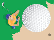 Golfer shooting a golf ball.  Stock Photography
