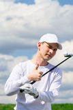 Golfer shows that all is well Stock Photo