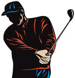 Golfer silhouette. Vector art of a Golfer silhouette isolated on white background Stock Images