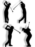 Golfer silhouette. In different pose and action Royalty Free Stock Images