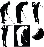 Golfer silhouette. An illustrated set of a golf ball and a golfer in various poses, isolated on white background Royalty Free Stock Images
