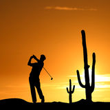 Golfer Silhouette Illustration Stock Photos