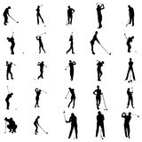 Golfer silhouette set icons, simple style Royalty Free Stock Photography