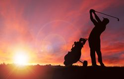 Golfer Silhouette During Sunset With Copy Space Royalty Free Stock Photo