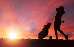 Golfer Silhouette During Sunset With Copy Space Stock Photos