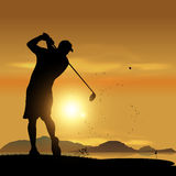 Golfer silhouette at sunset. Golfer silhouette swinging at sunset design background Stock Image