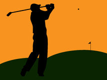 Golfer Silhouette Swinging at Sunset. Graphic illustration of golfer silhouette swinging on green turf against an orange sky Royalty Free Stock Photos