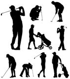Golfer silhouettes collection Stock Photo