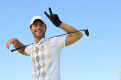 Golfer smiling Stock Photo
