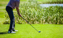Golfer at the Start with Copyspace for your text Royalty Free Stock Photo