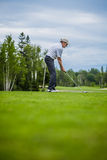 Golfer at the Start with Copyspace for your text Royalty Free Stock Photos