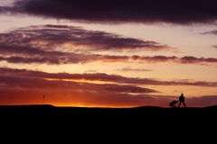 Golfer at sunset. Golfer playing into the sunset walking off to the next hole Royalty Free Stock Images
