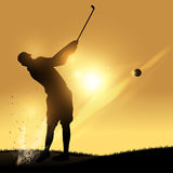 Golfer swing. Golfer silhouette hard swinging with a yellow background stock illustration