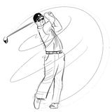 Golfer swinging the club Royalty Free Stock Photo