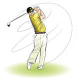 Golfer swinging the club Royalty Free Stock Photos