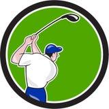 Golfer Swinging Club Circle Cartoon Royalty Free Stock Photos