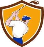 Golfer Swinging Club Crest Cartoon Stock Images