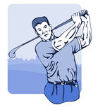 Golfer swinging club front. Vector art of a golfer playing golf. No gradients in this illustration stock illustration