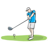 Golfer Swinging Club Hand Drawn Illustration. An illustration of a golfer on the tee box hitting a golf ball with a driver club. Vector EPS 10 available Royalty Free Stock Images