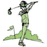 Golfer Swinging Club Royalty Free Stock Photo