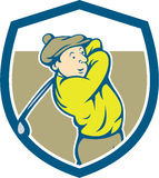 Golfer Swinging Club Shield Cartoon Stock Photos