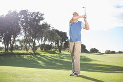 Golfer swinging on the grass Stock Images