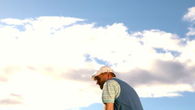Golfer swinging his club on the course stock footage