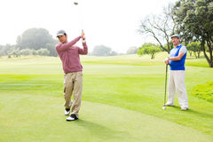 Golfer swinging his club with friend behind him. At the golf course Royalty Free Stock Photography