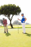 Golfer swinging his club with friend Royalty Free Stock Images