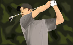 Golfer Swings Golf Club Royalty Free Stock Photos