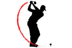 Golfer T-Off with fire Royalty Free Stock Photography