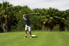 Golfer on the tee box. Golfer hitting the ball from the tee box. Golf club is in motion Stock Photos