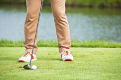 Golfer tee shot address. Stock Images