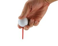 Golfer Teeing Ball Stock Photo