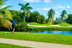Golfer Teeing Off. Key Biscayne, FL USA - February 10, 2017: Unidentified golfer teeing off in the beautiful public Crandon Golf along Biscayne Bay stock image