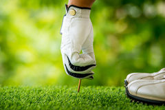 Golfer teeing off. Golfer preparing golf ball for teeing off Royalty Free Stock Photo