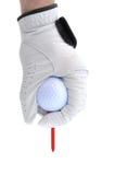 Golfer Teeing Up a Golf Ball. Golfer Wearing Golf Glove Teeing Up a Golf Ball on a Red Tee Stock Photo