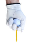 Golfer Teeing Up a Golf Ball. Golfer Wearing Golf Glove Teeing Up a Golf Ball on a Red Tee Royalty Free Stock Images