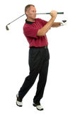 Golfer throwing a club. Royalty Free Stock Photography
