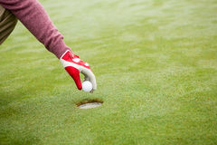 Golfer trying to flick ball into hole Royalty Free Stock Photo