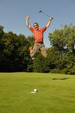 Golfer two. A golfer happy to have succeeded Royalty Free Stock Photos