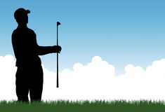 Golfer vector. A vector illustration of a golfer hitting out of a bunker or sand trap Stock Image