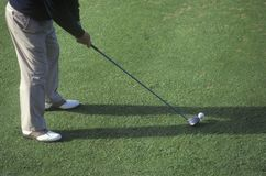 Golfer from waist down preparing, Ojai, CA Stock Photo