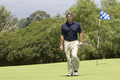 Golfer walking off green. Handsome male golfer walking off green holding clubs royalty free stock image