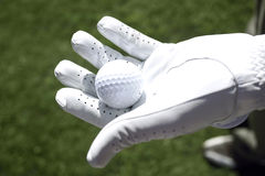 Golfer with white glove holds a golf ball Stock Image