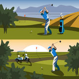 The golfer will hit the ball towards the hole. Vecror illustration Stock Photography