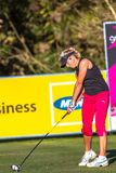 Golfer Woman Driving Ball. Lady Pro Golfer Montgomery striking the ball with her driver on the tee box in the final round of Ladies Professional Golf  at Stock Images