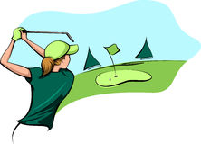 Golfer Woman Going for the Green Royalty Free Stock Photo