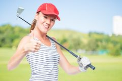 Golfer young and successful with golf club  on a background of g Royalty Free Stock Images